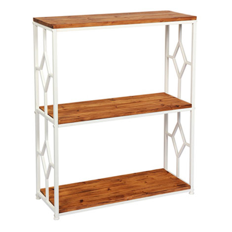 Industrial Unique Wood 3 Ladder Bookshelf With Metal Frame