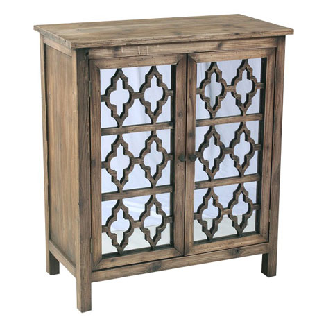 Vintage Wooden Carved Mirrored Storage Cabinet Wood Home Decor