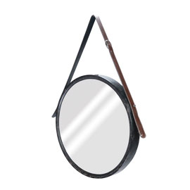 New Arrival Metal Wall Mirror With Leather Tape